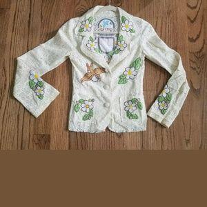 EUC Joystick Boho Blazer eyelet embroidered Jacket